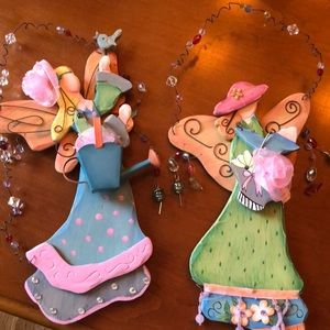Set of 2 Wooden Fairy Wall Hangings